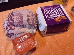 Mcdonald's hamburger and chicken nugget